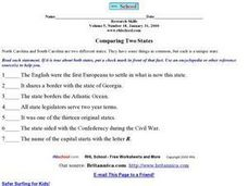 Comparing States- North Carolina and South Carolina Worksheet
