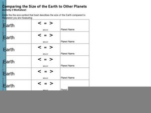 Comparing the Size of the Earth to Other Planets Worksheet