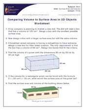 Comparing Volume to Surface Area in 3D Objects Worksheet Worksheet