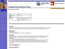 Comparison Contrast Essay Lesson Plan