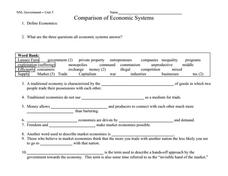 Comparative Systems Worksheet 10th - 12th Grade Worksheet | Lesson ...