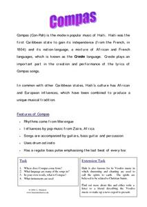 Compas-- Modern Popular Music of Haiti Worksheet
