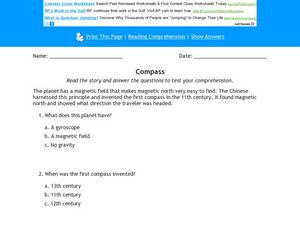 Compass Reading Comprehension Activity Worksheet