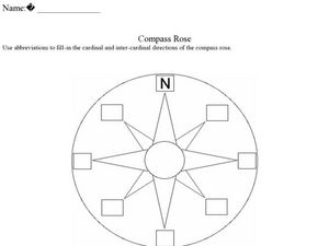 Printables Compass Rose Worksheets compass rose 2nd 4th grade worksheet lesson planet worksheet