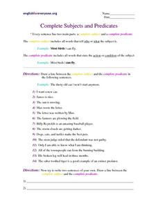 Complete Subjects and Predicates Worksheet