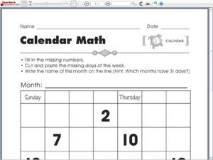 complete the calendar worksheet for kindergarten 2nd grade lesson planet. Black Bedroom Furniture Sets. Home Design Ideas
