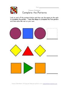 Complete the Patterns - Geometric Shapes Worksheet