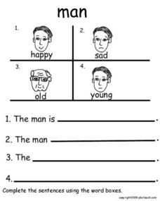 Completing Sentences with Feelings Words Worksheet