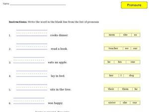 Completing Sentences with Pronouns Worksheet