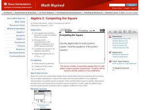 Completing the Square Lesson Plan