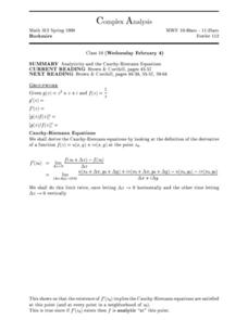 Complex Analysis:  Analyticity and the Cauchy-Riemann Equation Worksheet