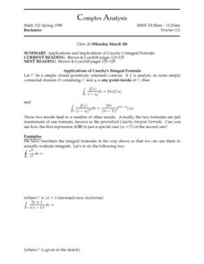 Complex Analysis:  Applications and Implications of Cauchy's Integral Formula Worksheet