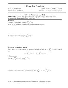 Complex Analysis:  Cauchy Principal Value Worksheet