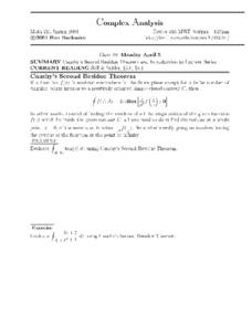 Complex Analysis:  Cauchy's Second Residue Theorem Worksheet