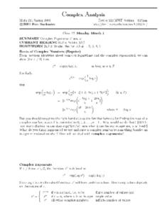 Complex Analysis:   Complex Exponents Worksheet