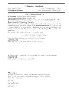 Complex Analysis:  Functions of Complex Variables Worksheet