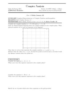 Complex Analysis:  Graphical Representations Worksheet