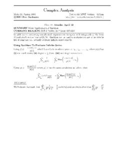 Complex Analysis:  More Applications of Residues Worksheet