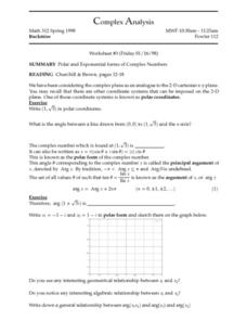 Complex Analysis:  Polar & Exponential Forms Worksheet