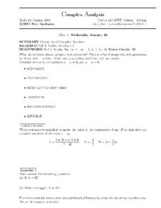 Complex Analysis:  Properties of Complex Numbers Worksheet