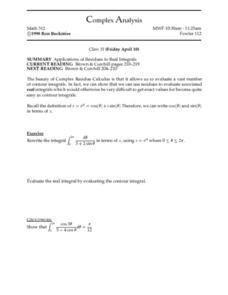 Complex Analysis:  Residues and Real Integrals Worksheet