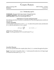 Complex Analysis:  Theorems Following Cauchy's Integral Formulas Worksheet
