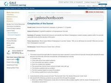 Complexities of the Sonnet Lesson Plan