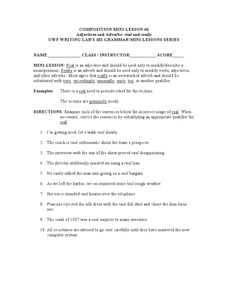 ... Adjectives and Adverbs: Real and Really 5th - 7th Grade Worksheet
