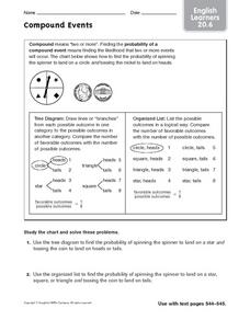 Compound Events - ELL 20.6 Worksheet