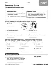 Compound Events - Finding the Probability Worksheet