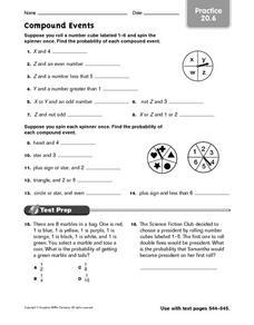 Worksheets Compound Events Worksheet compound events practice 20 6 6th 8th grade worksheet lesson worksheet