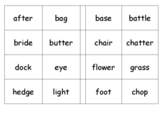 Compound Word Bingo Worksheet