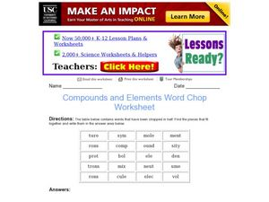 Compounds and Elements Word Chop Worksheet Worksheet