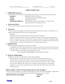 Comprehending Information Text: Identifying the Main Idea Lesson Plan