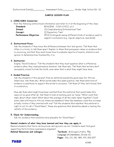 Comprehending Information Text: Testing and Validity of Evidence Lesson Plan