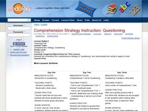 Comprehension Strategy Instruction: Questioning Lesson Plan
