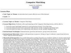 Computer Matching Lesson Plan