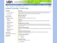 Computer Technology -- Create a Table Lesson Plan