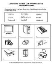 Computers: Inside And Out-- Outer Hardware Labeling Worksheet Worksheet