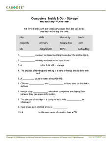 Computers: Inside & Out - Storage Vocabulary Worksheet Worksheet