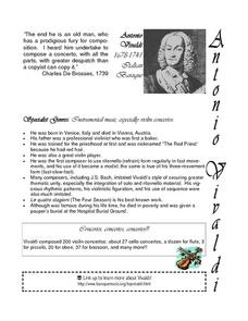 Concerto for Recorder, Oboe and Bassoon by Antonio Vivaldi Lesson Plan