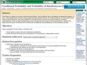 Conditional Probability and Probability of Simultaneous Events Lesson Plan