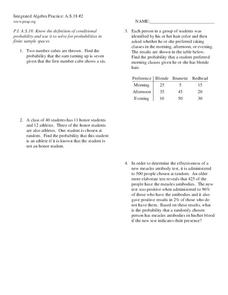 Printables Conditional Probability Worksheet conditional probability 7th 8th grade worksheet lesson planet worksheet