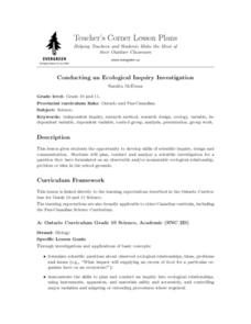 Conducting an Ecological Inquiry Investigation Lesson Plan