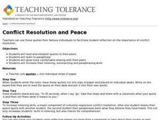 Conflict Resolution and Peace Lesson Plan
