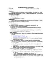 Conflict Resolution Lesson Plan Lesson Plan