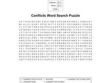 Conflicts Word Search Puzzle Worksheet