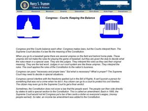 Congress - Courts Keeping the Balance Worksheet