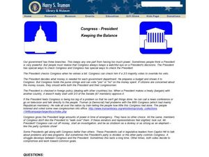 Congress - President: Keeping the Balance Worksheet