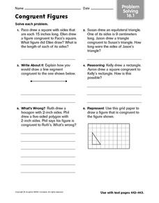 Congruent Figures problem solving 16.1 Worksheet